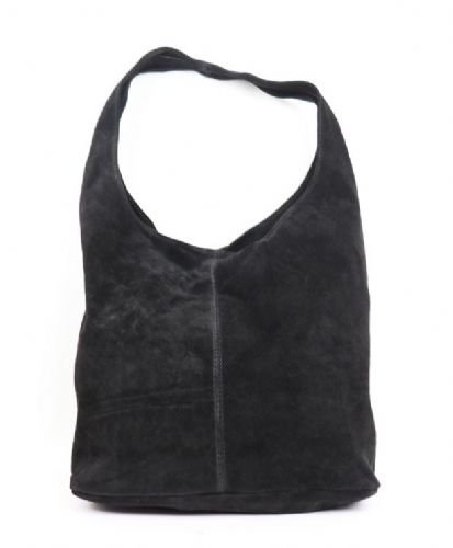 Suede Hobo Shoulder Bag - Black